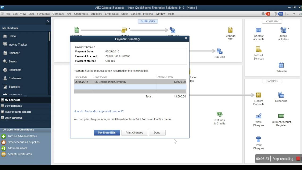 learn how to record expenses in quickbooks write check pay bills