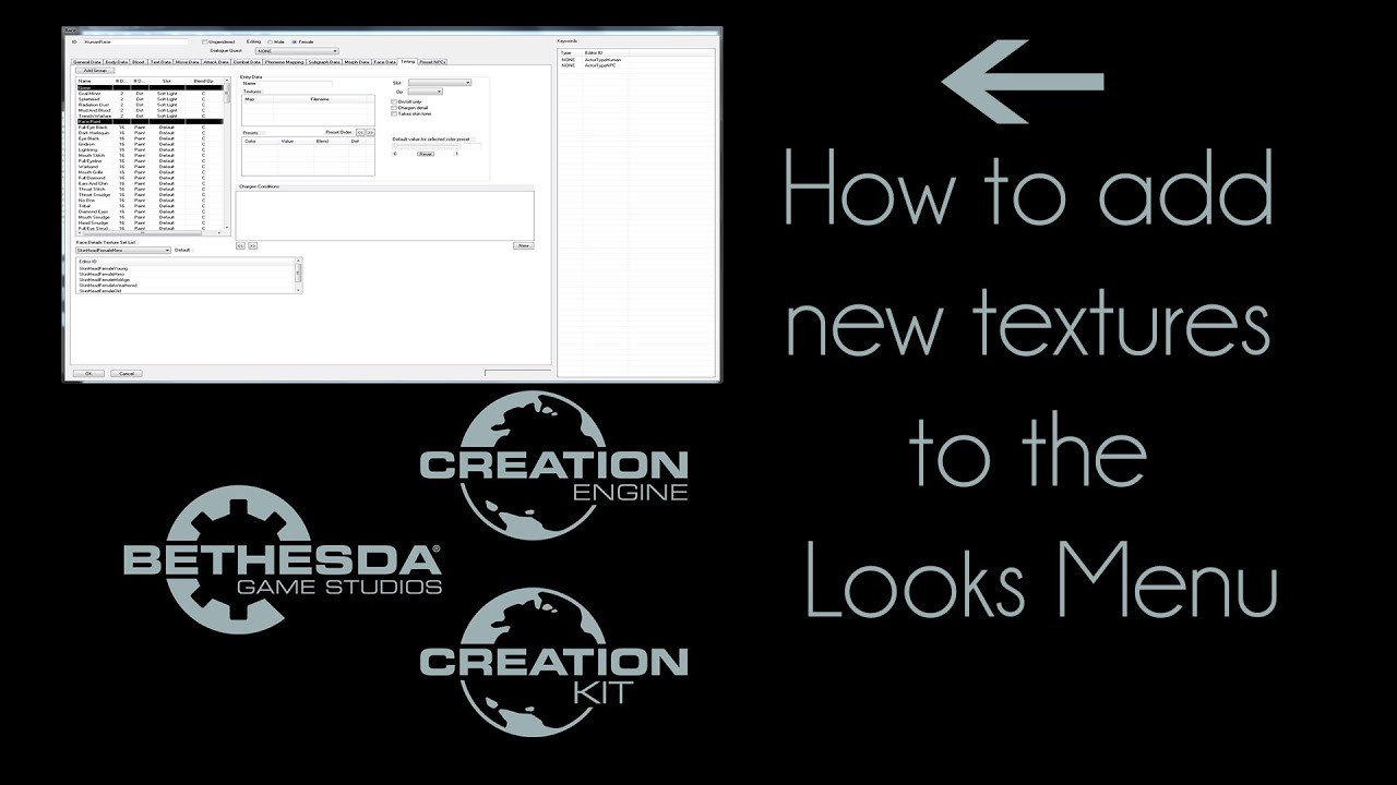 Fallout4 Creation Kit Tutorial: 1 Adding new textures to the Looks Menu