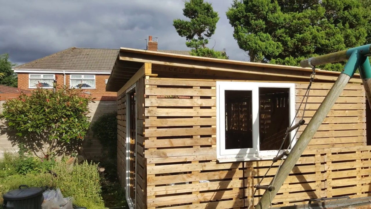 Pallet shed build - YouTube