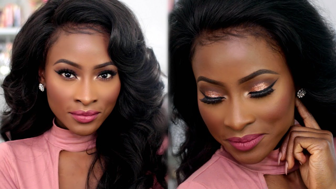 Spring Makeup Rose Gold Glitter Eyes Pink Lips Youtube