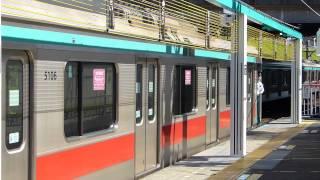 東急田園都市線つきみ野駅ロープ式ホームゲート(電車発車)