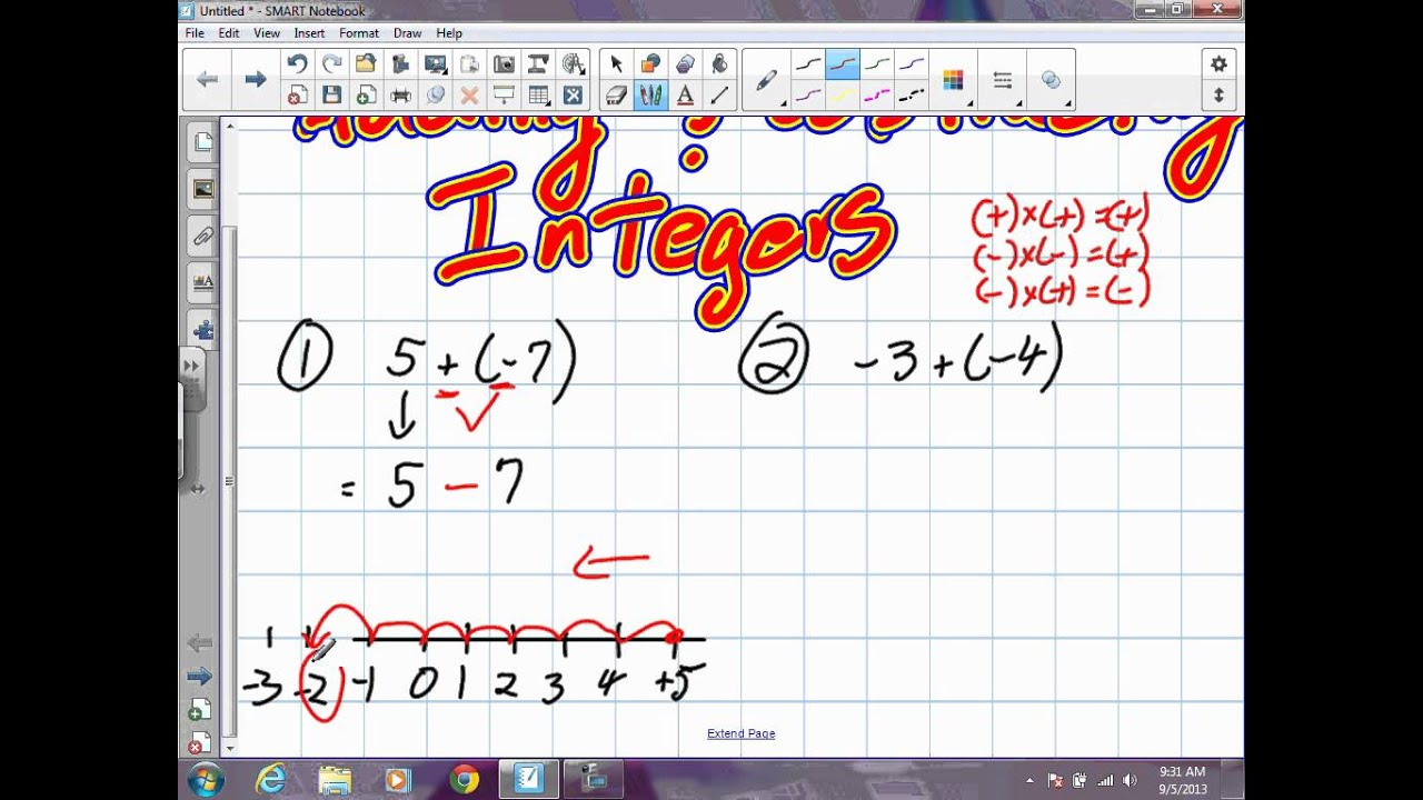 Adding And Subtracting Integers Grade 9 Academic Pre Req Skills 9 5 13