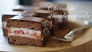 チョコレートとイチゴのケーキ レシピ~生チョコをたっぷりかけて thumbnail