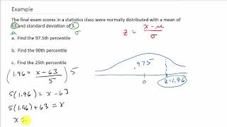 Finding Percentiles for a Noŗmal Distribution