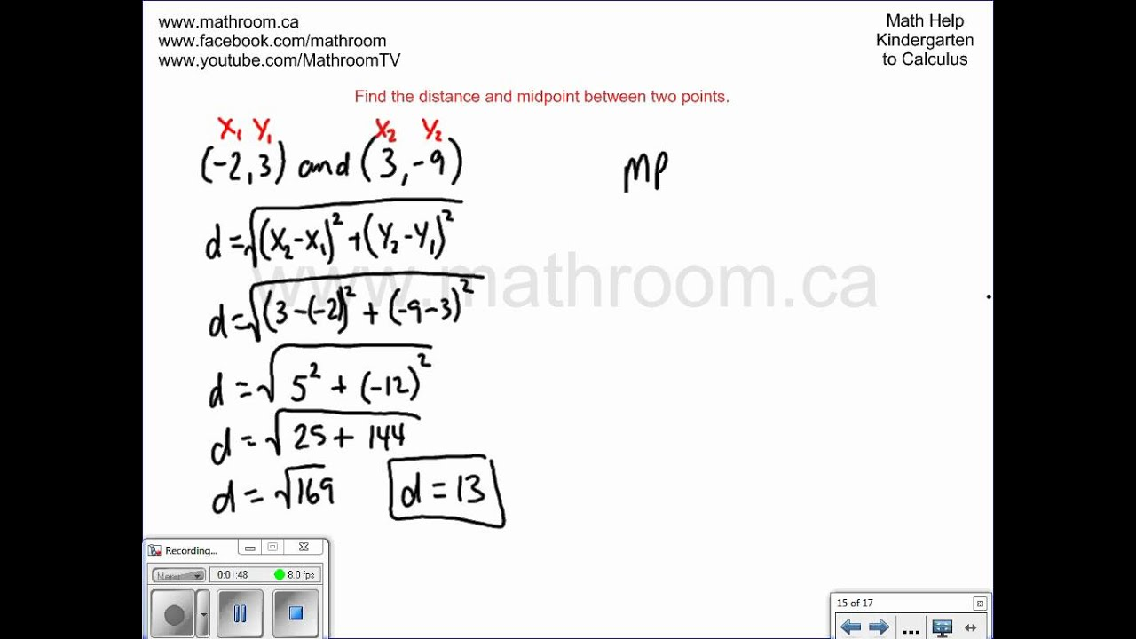 Find The Distance And Midpoint Between Two Points Youtube