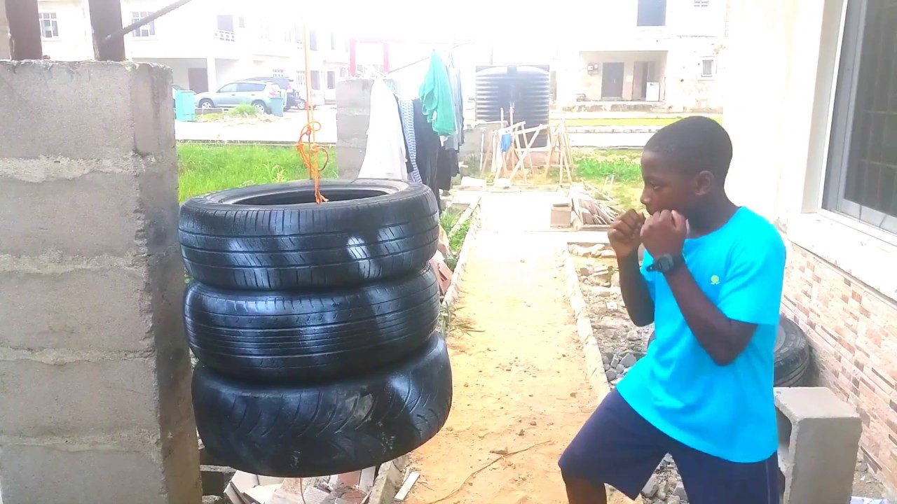Homemade Punching Bag Made Out Of Tires