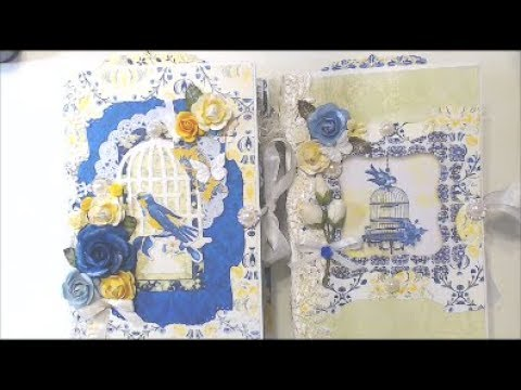2 Vintage Junk Journals ~Blue and Yellow