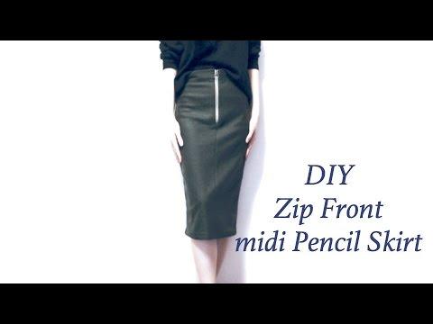 Sewing + DIY Zip Front midi Pencil Skirt