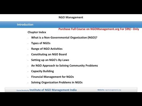 Introduction of NGO Management Course
