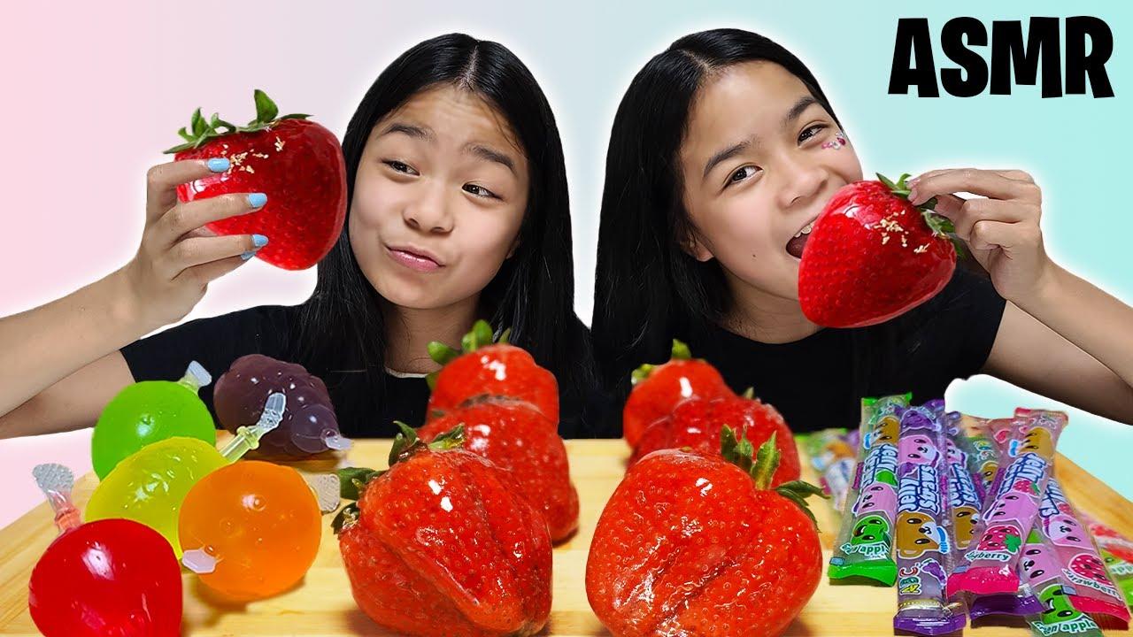 ASMR GIANT STRAWBERRIES [Tanghulu], Jelly Straws, Fruit Jelly