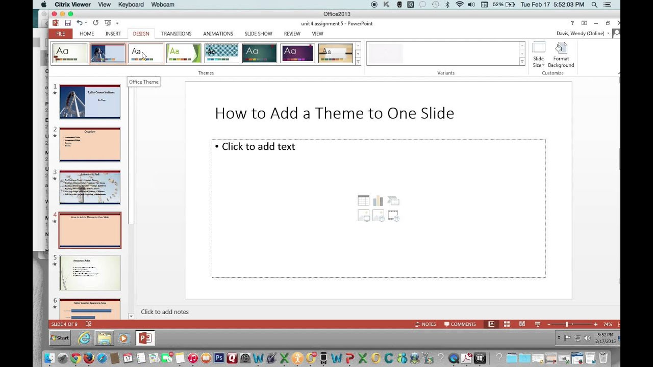 How to apply a theme to one slide using powerpoint 2013 mac and how to apply a theme to one slide using powerpoint 2013 mac and pc alramifo Choice Image