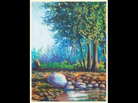 Enrique Zaldivar / Como hacer el dibujo de un paisaje impresionista  con oleo pastel sobre cartulina