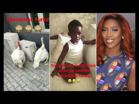 Tiwa Savage's Son Ran Into The House After He Saw Their Christmas Turkey