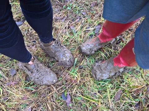 Her muddy Hunters and his very muddy Puma Futurecat