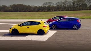 Peugeot 208 GTi vs Renault Clio 200 Vs Ford Fiesta ST - Top Gear - Series 20 - BBC(It's the Battle of the GTi's as Richard test drives the Peugeot 208 GTi, Renault Sport Clio 200, and Ford Fiesta ST. Who will be the king of the Hot Hatch?, 2014-02-09T21:00:01.000Z)