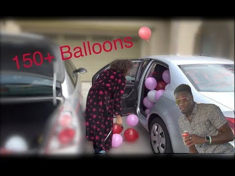 150+ balloons in her car for VALENTINE'S DAY !