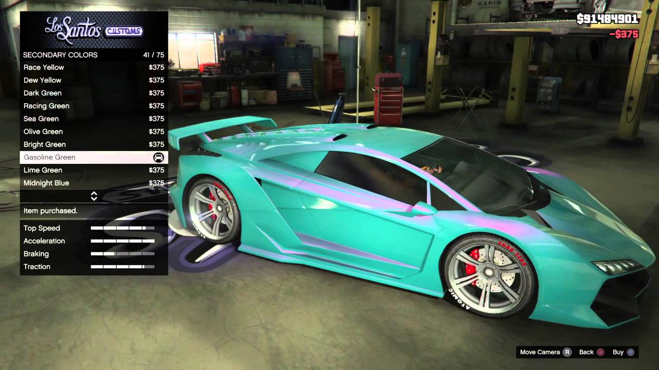 Gta v paint job bubble gum teal glow youtube for Dark green paint job