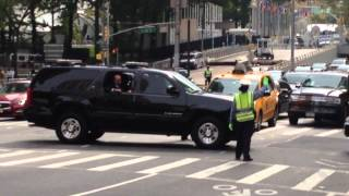 NYPD AND UNITED STATES SECRET SERVICE ESCORTING A MOTORCADE DURING UNITED NATIONS GENERAL ASSEMBLY.