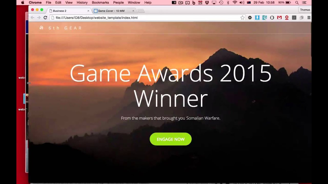 game website using template and dreamweaver
