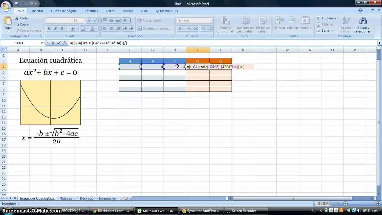 Como Resolver Ecuaciones Cuadraticas En Excel Youtube