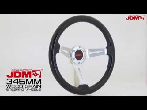 JDM SPORT 345MM BLACK WOOD GRAIN STEERING WHEEL