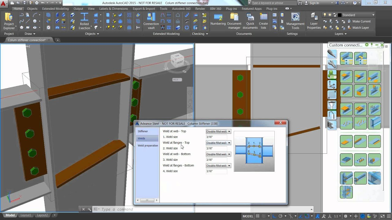 Advance Steel 2015 1 Column stiffener brick