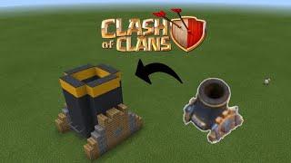 Cách xây khẩu đại bác lv 2 Clash of clans trong Minecraft PE - make a Clash of clans mortar lv 2