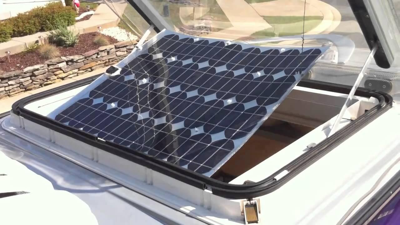 Solar Panel In Skylight Opening Of Westfalia Sprinter