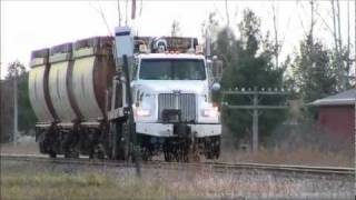 CN Hi-Rail Boom Truck With Wisconsin Central Ballast Gondolas