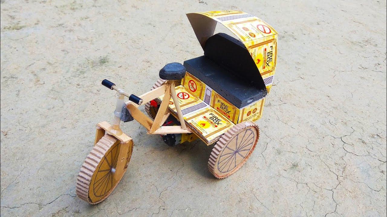 How To Make Matchbox Auto Rickshaw at Home - DIY Tuk Tuk Auto Cycle Rickshaw
