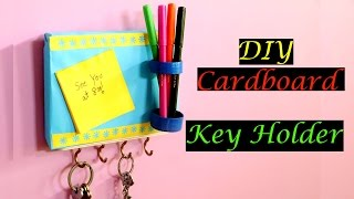 DIY Key Holder from cardboard | Key Holder with Post It Message Board