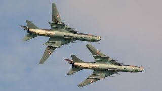 Fantastic display of 2 Polish Air Force Sukhoi Su-22 at Air 14 Payerne