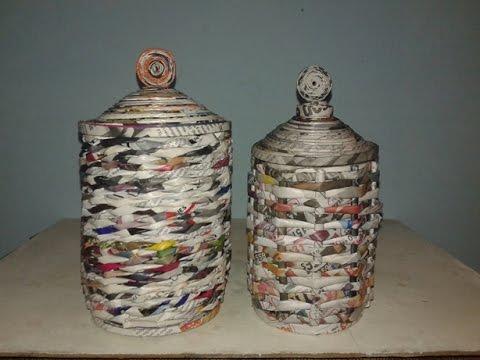 Como hacer cestas de revistas reciclando latas youtube - Que manualidades puedo hacer ...