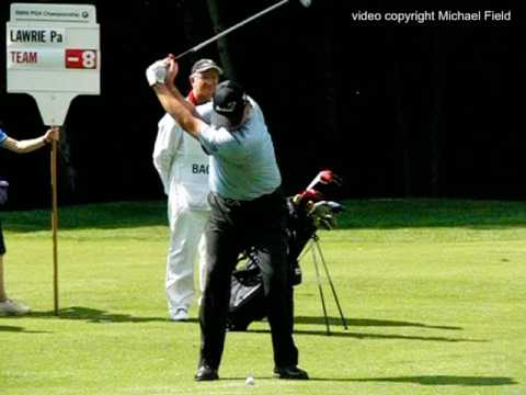 Paul Lawrie golf swing (face-on) Short Iron, BMW PGA Wentworth, May 2017.