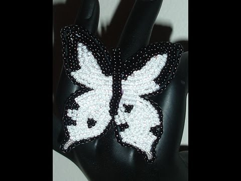 Beaded Embroidery Butterfly Ring or Bracelet, handmade jewelry by Mariel.