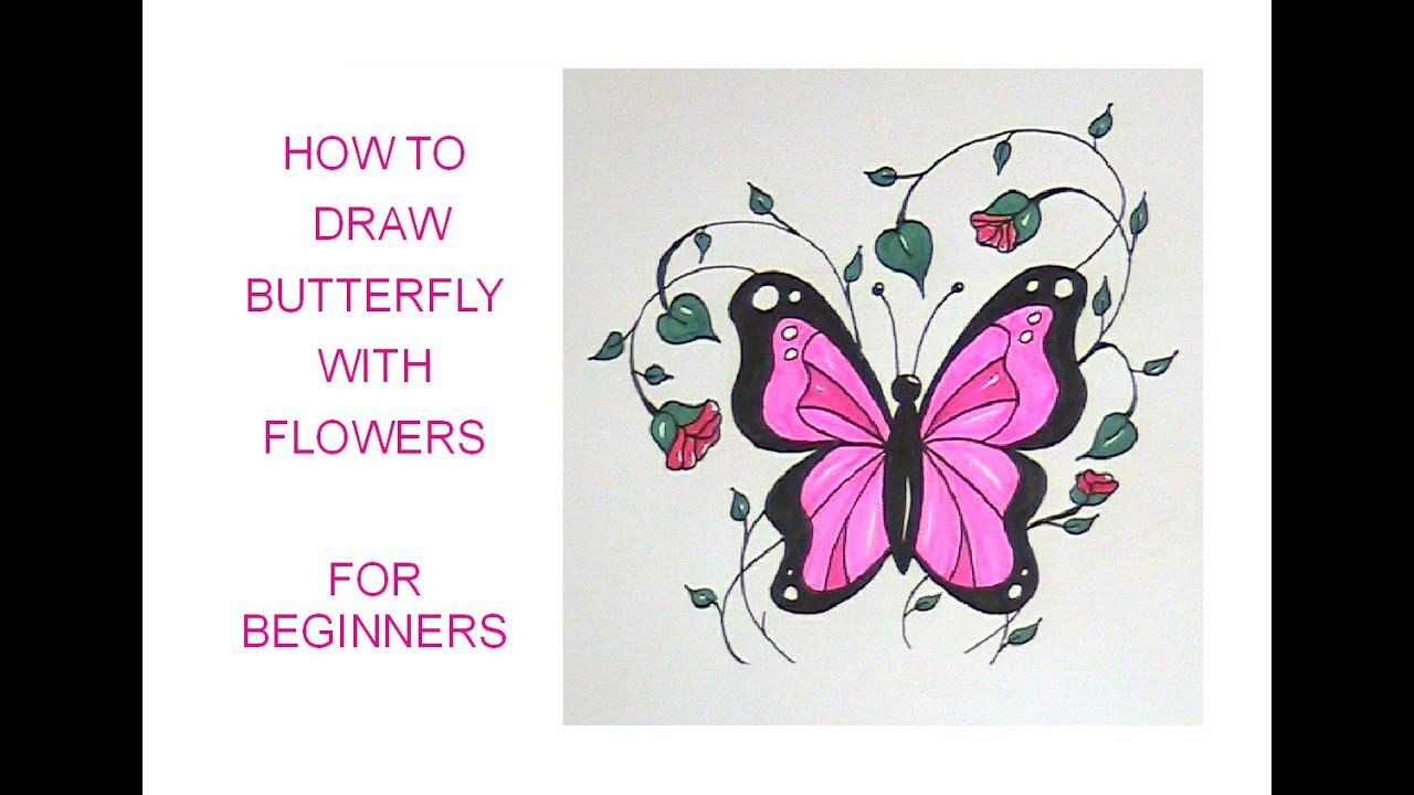 how to draw a butterfly with flowers easy version for