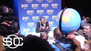 Stephen Jackson trolls Kyrie Irving with a globe at 2018 All-Star Media Day | SportsCenter | ESPN