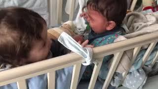 Twins baby boy funny