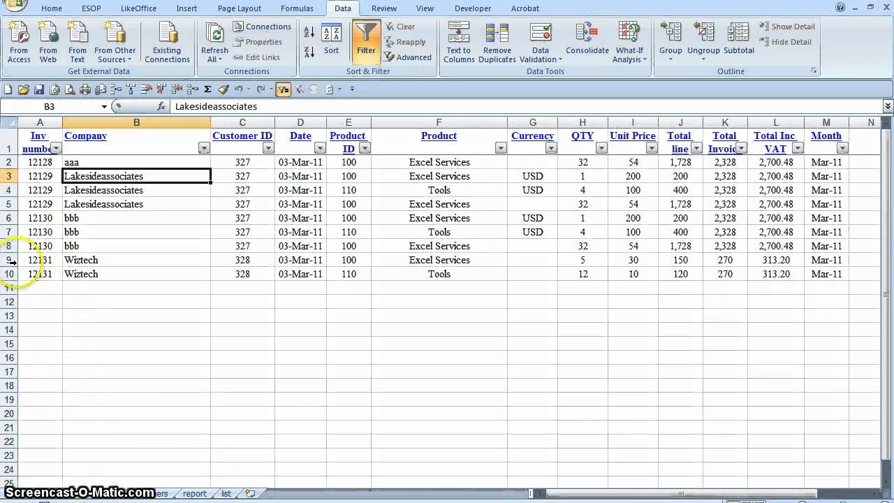 invoicing system excel