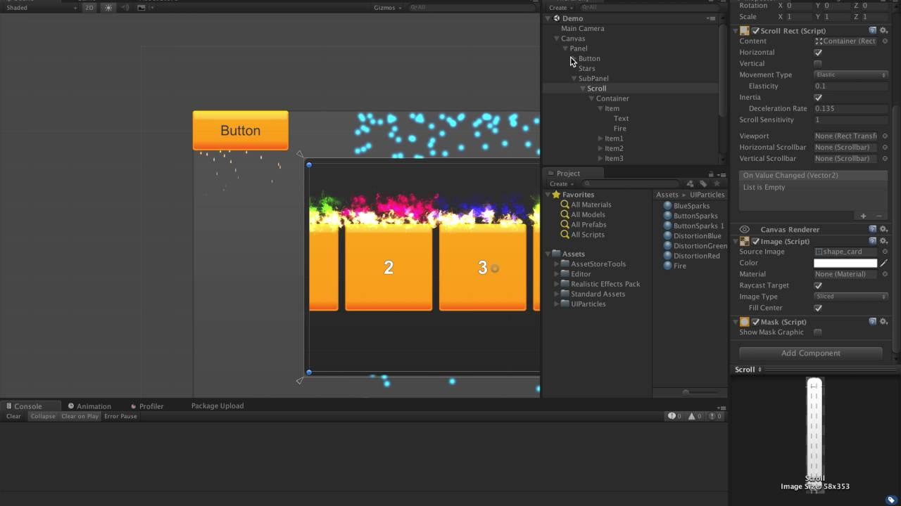 Unity3d UI Particles Demo