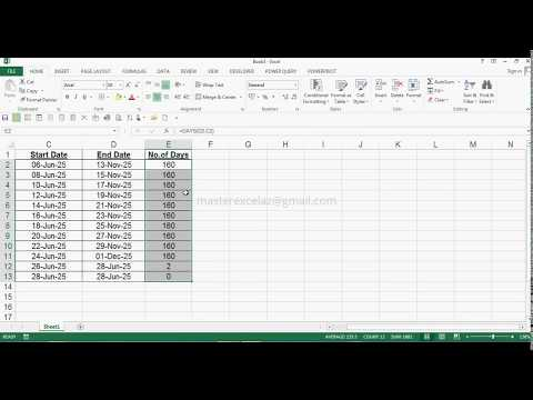 How To Calculate No.of Days Between Two Dates In MS Excel 2013