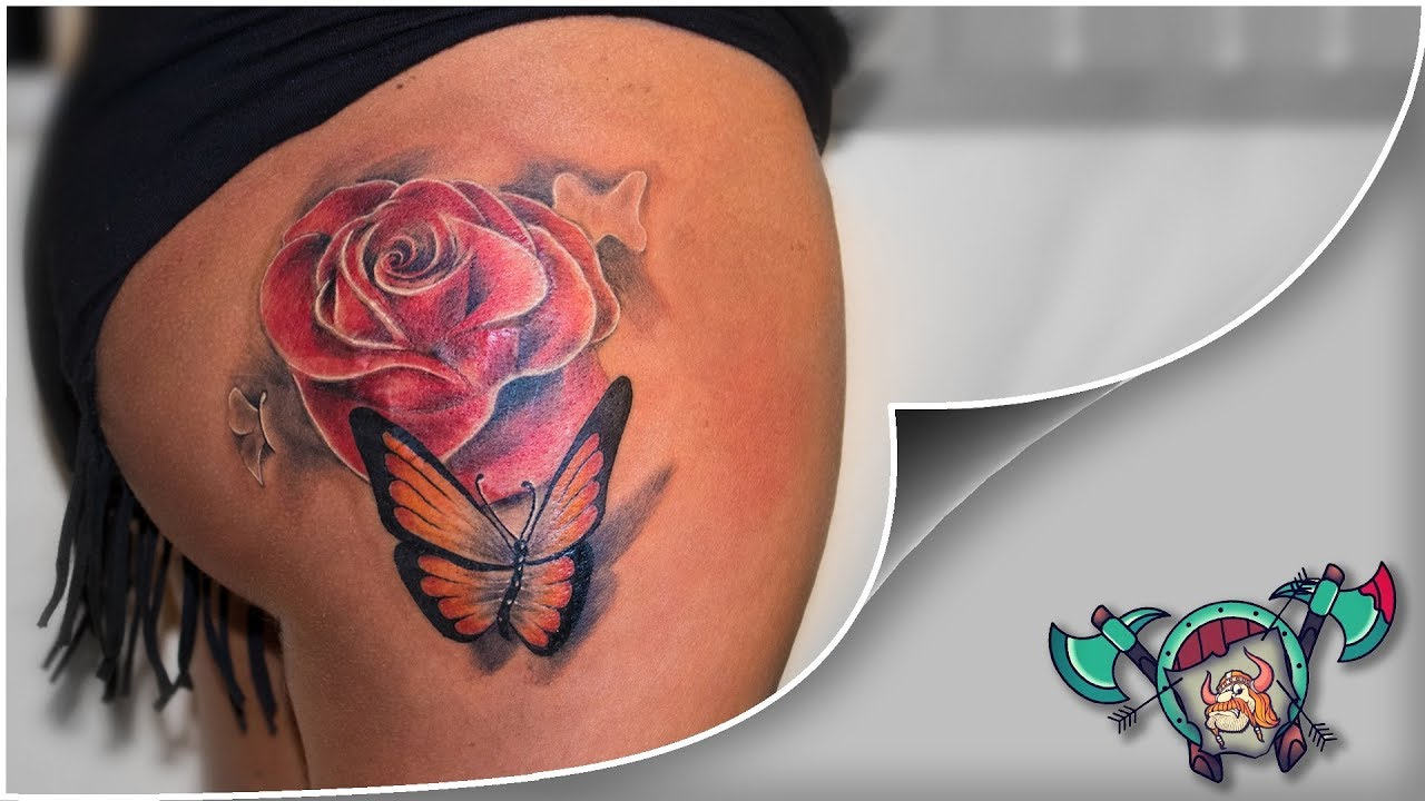 Colorful Rose & Butterfly Tattoo Timelapse - YouTube
