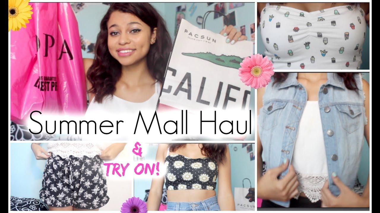 Summer Mall Haul + Try ON! Pac Sun, Fashion Q amp; Joppa  YouTube