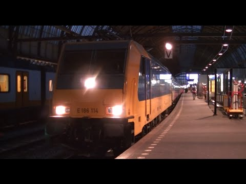Vertrek NS E 186 114 + IC Direct Station Amsterdam Centraal