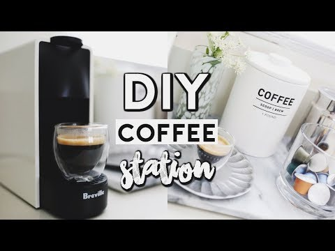 DIY MINIMAL COFFEE STATION (NESPRESSO MINI ESSENZA) 2018 | Easy Organization Ideas