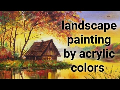 Landscape beautiful painting by acrylic colors on oil sheet ( canvas painting acrylic colors)