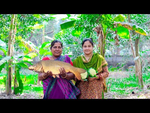 Carp Fish with Cauliflower Cooking in Village by Beautiful Girl & Mom | Village Food Factory & Life