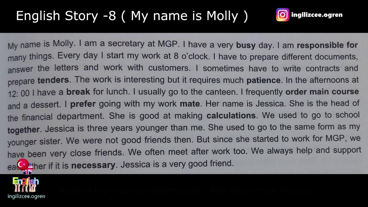 İngilizce hikaye okuyorum - My name is MOLLY (8.Hikaye)