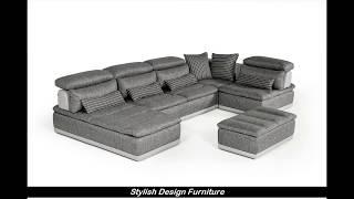 Stylish Design Furniture - Italian Grey Leather Sectional