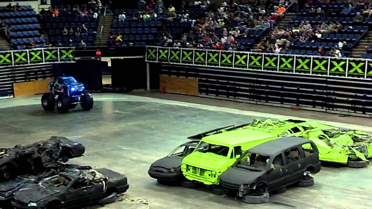 9 year old boy in his mini monster truck - YouTube